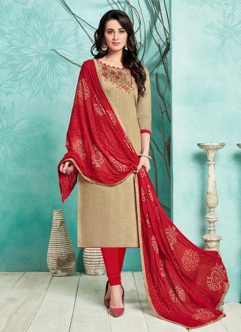 Cotton Satin Beige Embroidery Work Regular Wear Churidar Suit