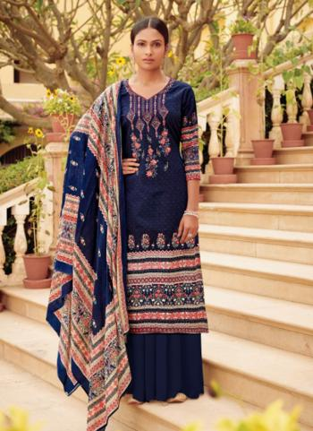 Cotton Satin Navy Blue Embroidery Work Regular Wear Palazzo Suit