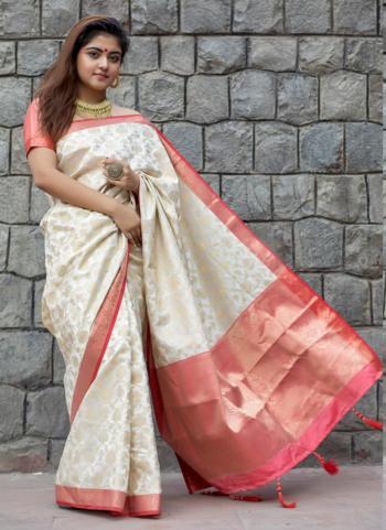 Cream Banarasi Silk Festival Wear Lace Work Saree