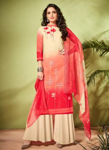 Cream Cambric Cotton Regular Wear Embroidery Work Palazzo Suit