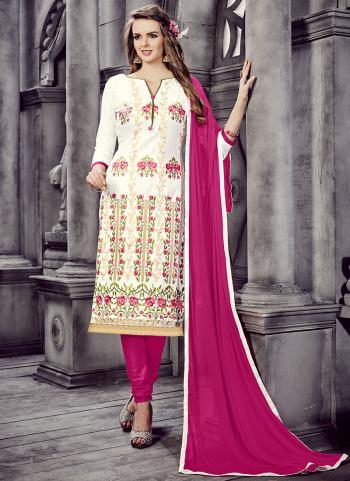 Cream Cotton Office Wear Embroidery Work Churidar Suit