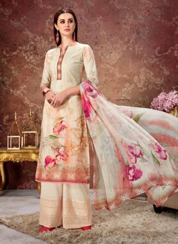 Cream Lawn Cotton Regular Wear Digital Print Palazzo Suit