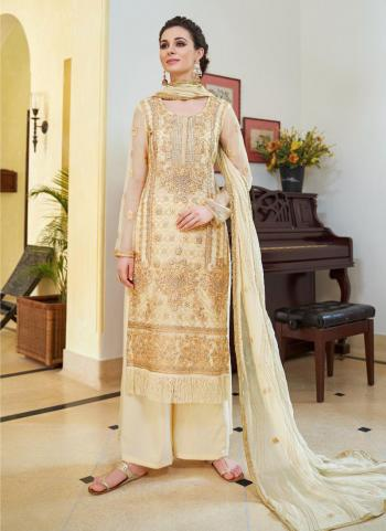 Beige Embroidery Work Organza Party Wear Palazzo Suit