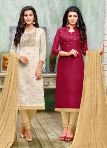 Cream Rani Chanderi Cotton Daily Wear Embroidery Work Churidar Suit