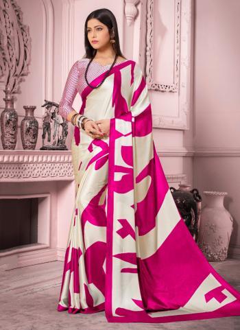 Cream Satin Silk Regular Wear Printed Work Saree