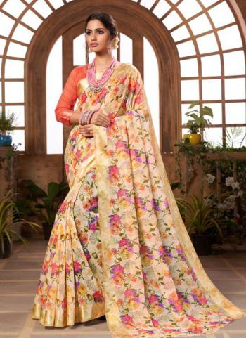 Cream Silk Festival Wear Printed Work Saree