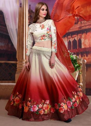 Cream And Red Silk Party Wear Digital Printed Lehenga Choli