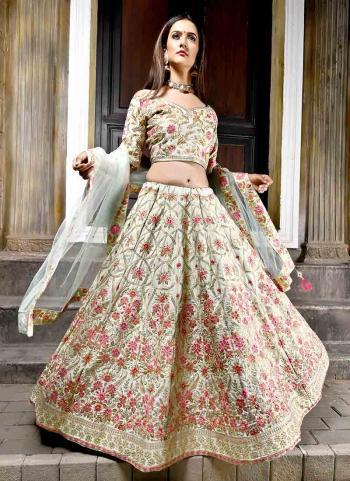 Cream Velvet Silk Wedding Wear Embroidery Work Lehenga Choli