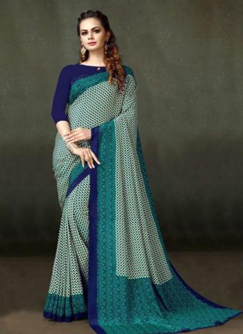 Crepe Regular Wear Turquoise Printed Work Saree