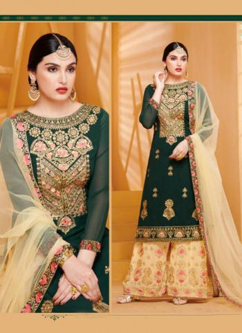 Dark Green Georgette Festival Wear Embroidery Work Sharara Suit