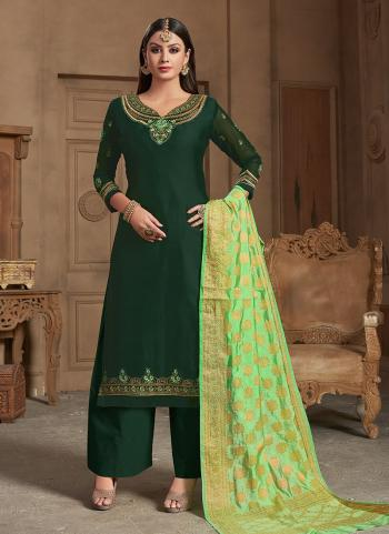 Dark Green Georgette Satin Wedding Wear Embroidery Work Palazzo Suit