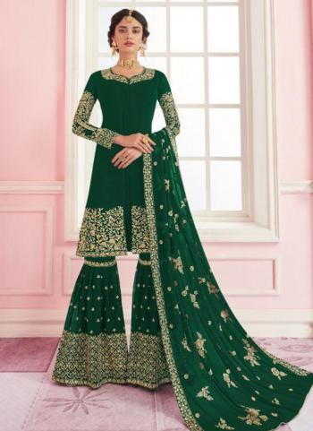 Dark Green Georgette Wedding Wear Embroidery Work Sharara Suit