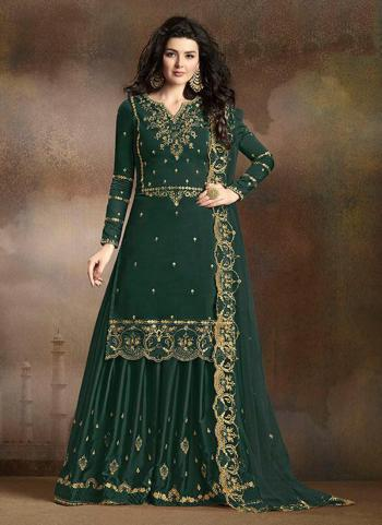 Dark Green Soft Silk Wedding Wear Heavy Embroidery Work Sharara Suit
