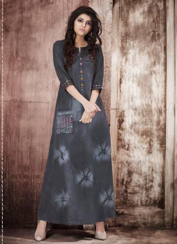 Denim Grey Casual Wear Embroidery Work Gown