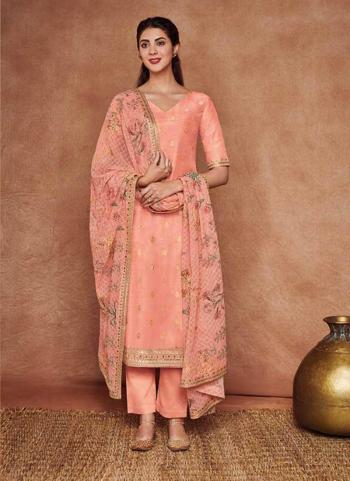 Dola Silk Peach Festival Wear Embroidery Work Salwar Suit