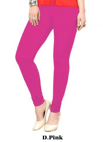 DPink Cotton Regular Wear Plain Leggins
