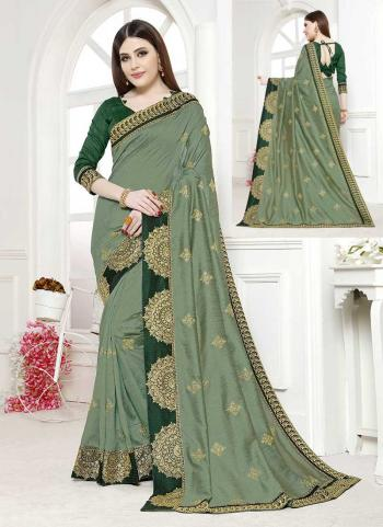 Dusty Green Vichitra Silk Party Wear Embroidery Work Saree