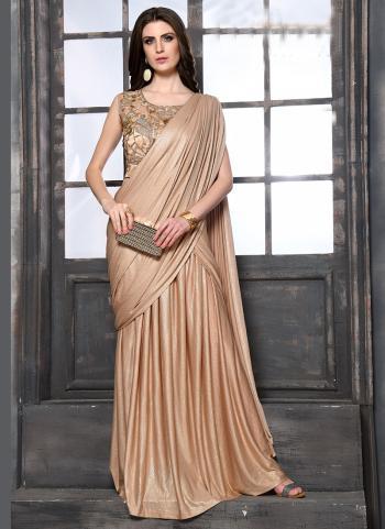 Fancy Golden Bridal Wear Hand Work Lehenga Saree