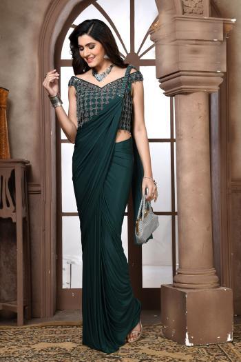 Fancy Green Reception Wear Hand Work Saree