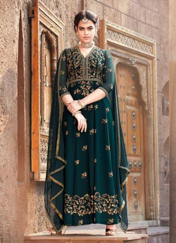 Faux Georgette Green Embroidery Work Party Wear Anarkali Suit