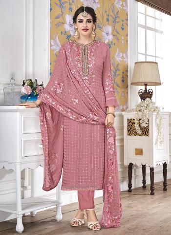 Faux Georgette Pink Festival Wear Khatli Work Churidar Suit