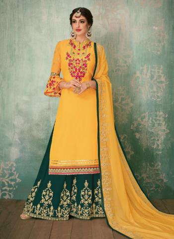 Faux Georgette Yellow Embroidery Work Wedding Wear Sharara Suit