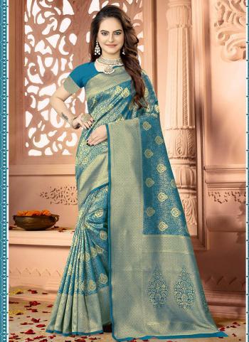 Firozi Banarasi Silk Festival Wear Zari Work Saree