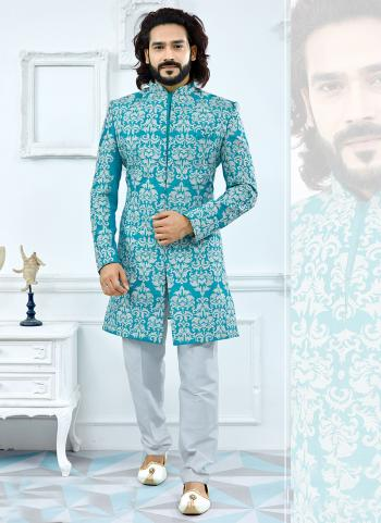 Firozi Banglori Silk Wedding Wear Printed Sherwani