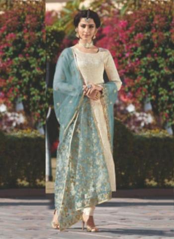 Firozi Jacqaurd Brocade Party Wear Embroidery Work Churidar Suit
