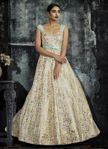 Firozi Jacqaurd Wedding Wear Printed Work Gown