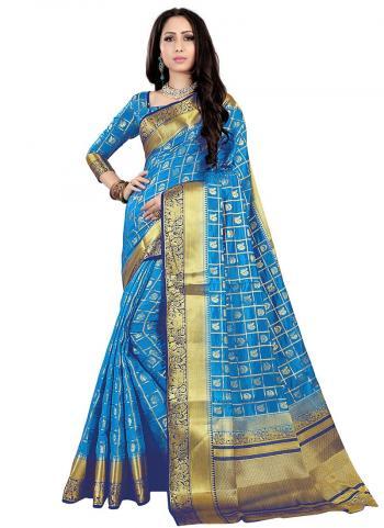 Firozi Nylon Silk Wedding Wear Zari Work Saree