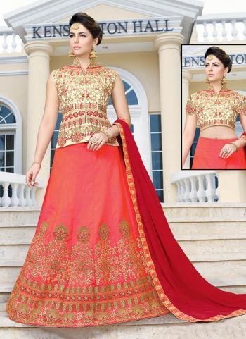 Gajri Banglori Silk Wedding Wear Embroidery Work Long Choli Style Lehenga