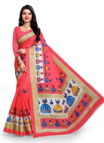 Gajri Bhagalpuri Silk Casual Wear Printed Work Saree