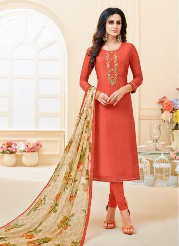 Gajri Cotton Chanderi Daily Wear Embroidery Work Churidar Suit