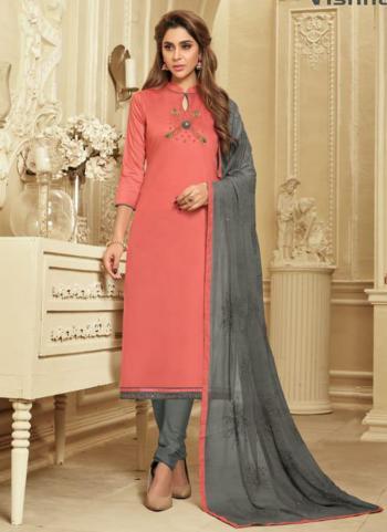Gajri Cotton Silk Embroidery Work Daily Wear Churidar Suit