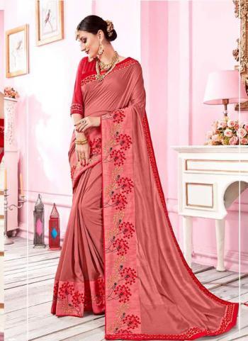 Gajri Fancy Party Wear Embroidery Border Work Saree