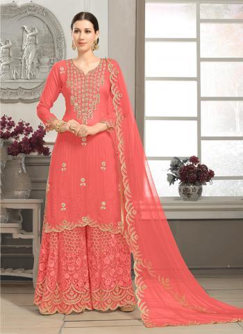 Gajri Faux Georgette Wedding Wear Embroidery Work Sharara Style