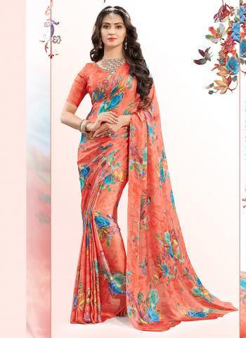 Gajri Georgette Regular Wear Printed Work Saree