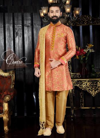 Gajri Jacqaurd Wedding Wear Zari Work Sherwani Style