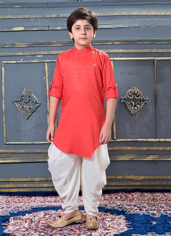 Gajri Modal Satin Party Wear Pleats Work Kids Dhoti Kurta