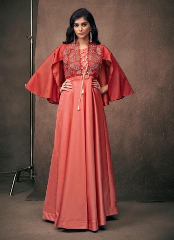 Gajri Satin Festival Wear Embroidery Work Gown
