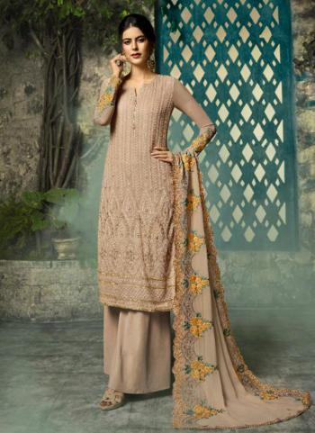 Georgette Beige Embroidery Work Party Wear Palazzo Suit