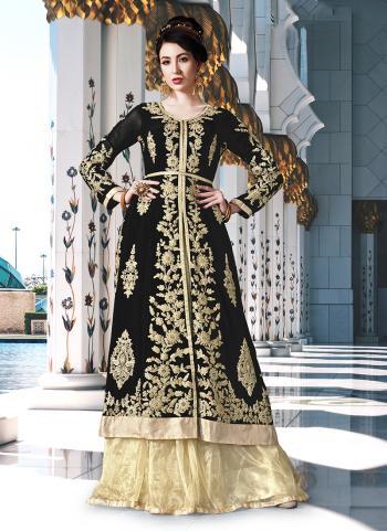 Georgette Black Embroidery Work Wedding Wear Lehenga Suit