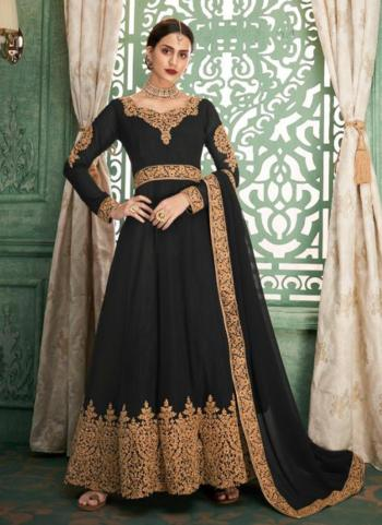 Georgette Black Wedding Wear Embroidery Work Ready Made Anarkali Suit