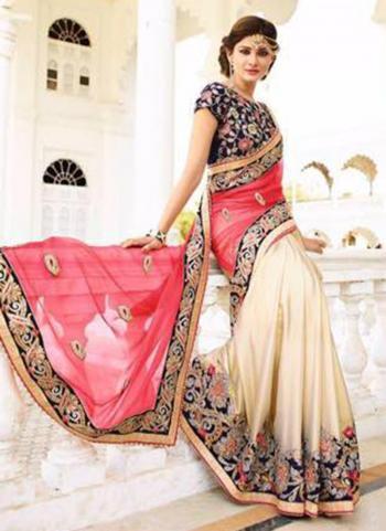 Georgette Cream Wedding Wear Embroidered Work Saree