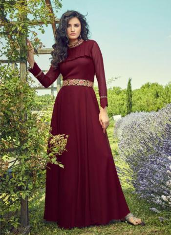 Georgette Maroon Party Wear Embroidery Work Gown