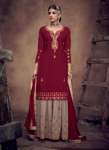 Georgette Maroon Wedding Wear Embroidery Work Sharara Suit