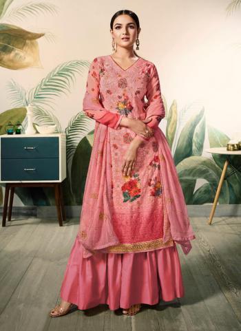 Georgette Pink Digital Print Festival Wear Sharara Suit