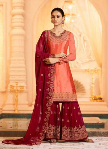 Georgette Satin Gajri Wedding Wear Embroidery Work Sharara Suit