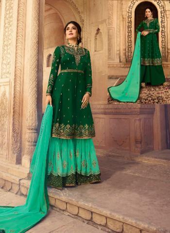 Georgette Satin Green Wedding Wear Embroidery Work Sharara Suit